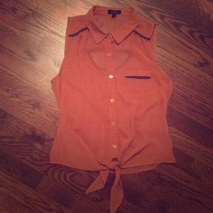 Boutique orangish tan/purple sleeveless top- Small